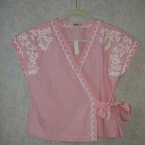 NWT Madewell pink embroidered kimono wrap top SM